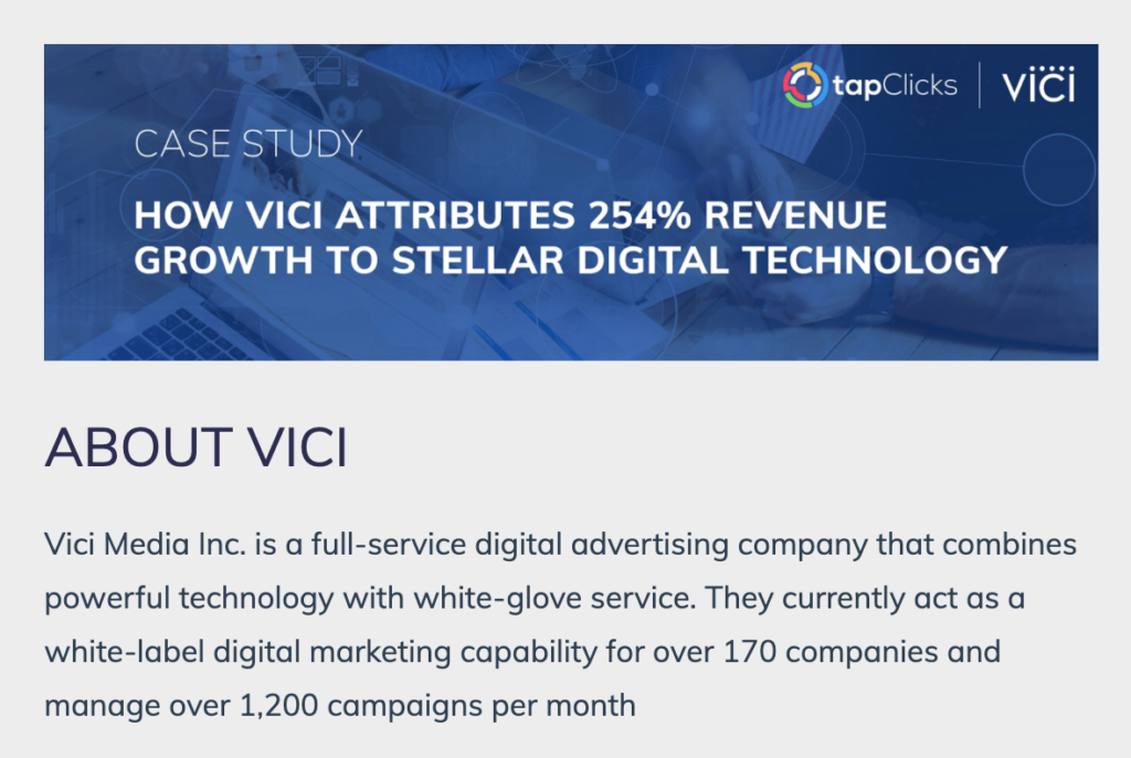 Example of a case study completed by Tapclciks with a 254% increase in revenue growth.