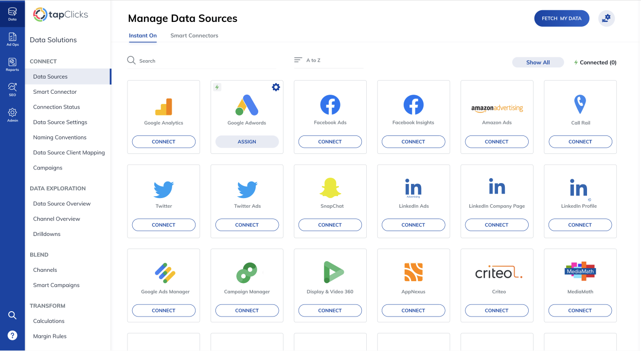 TapClicks connectors for Facebook reporting and analytics