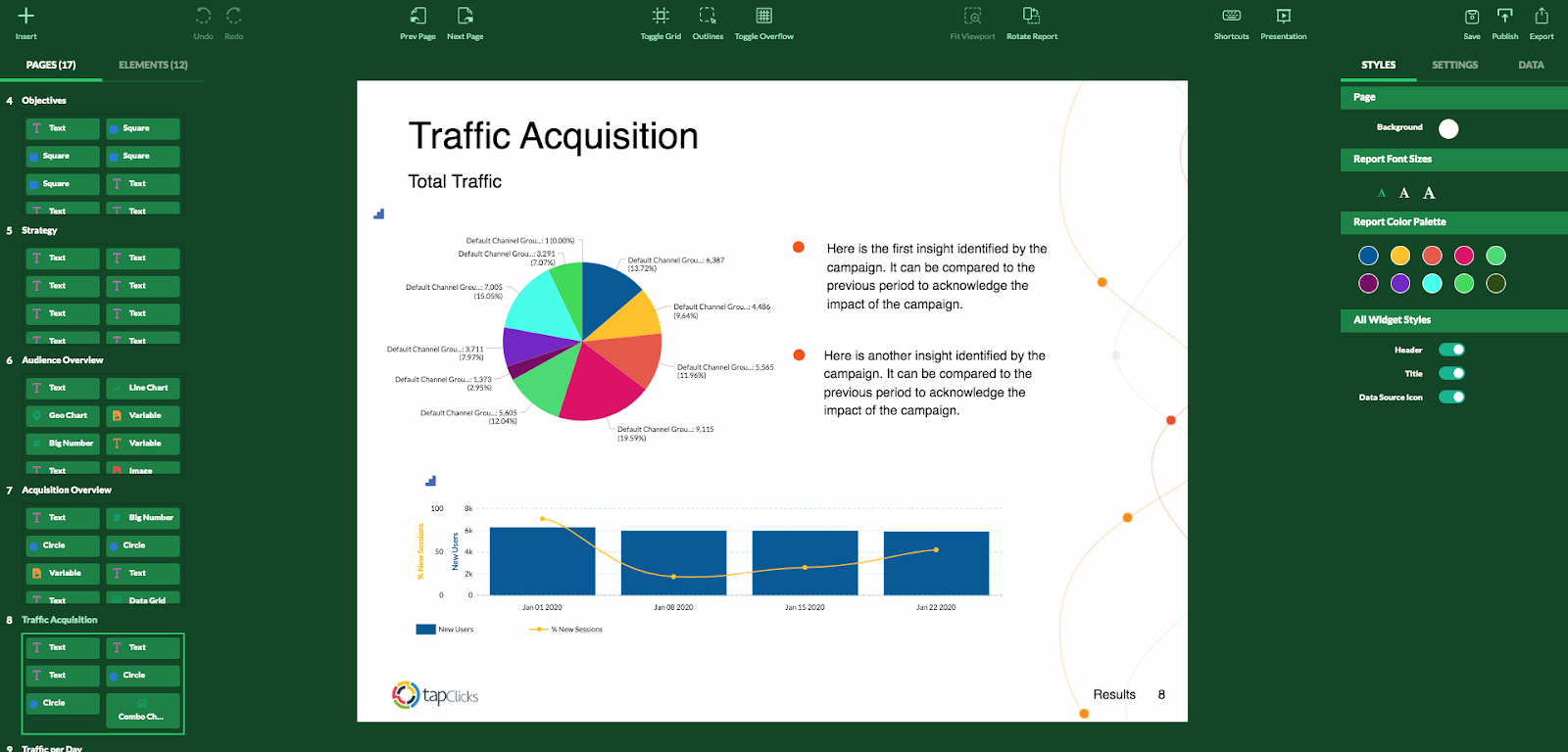 TapClicks report studio pulls data right from your client dashboards