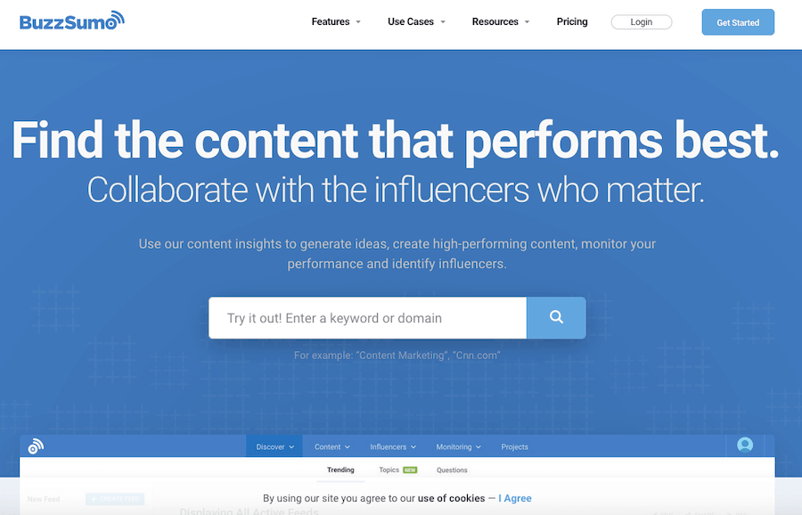 BuzzSumo content analytics and reporting tool
