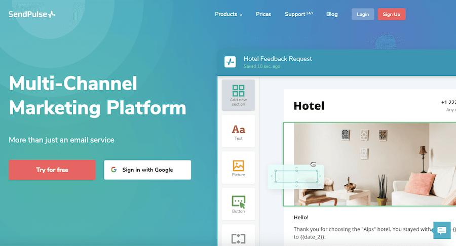 SendPulse email management and marketing platform