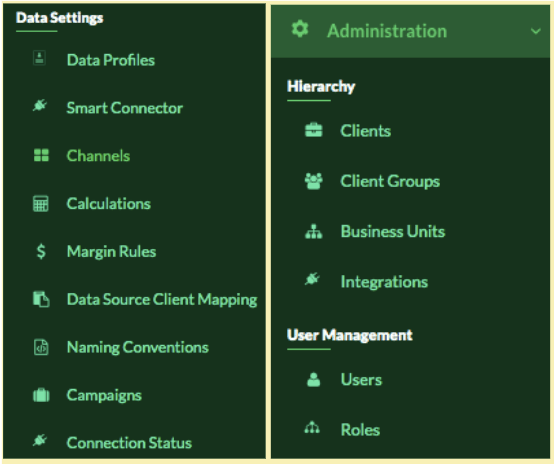 TapClicks options to share data across teams and departments, and set permissions and access to client dashboards.