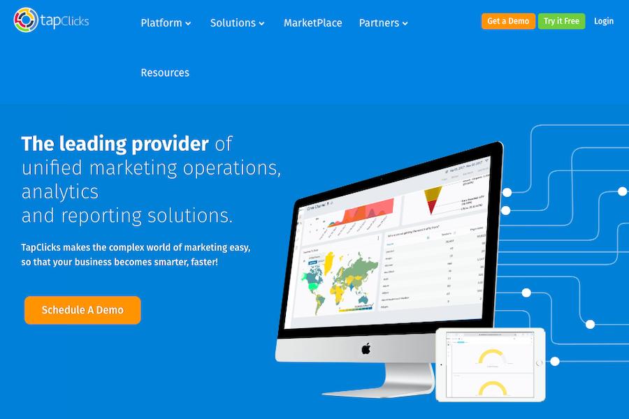 TapClicks TapClicks marketing operations platform homepage